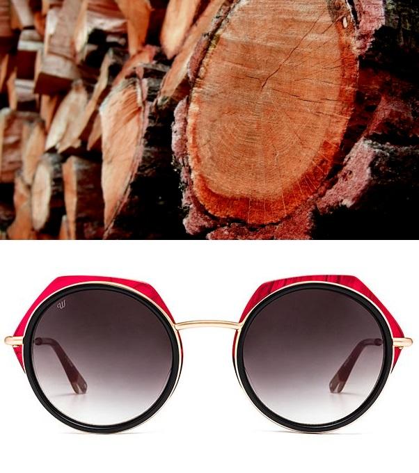 Lunettes de soleil Woodys Barcelona rouge et troncs d'arbre acajou assortis
