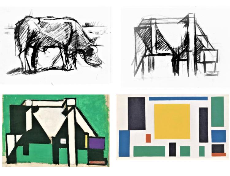 Étapes de créations de l'art De Stijl, une vache en 4 étapes