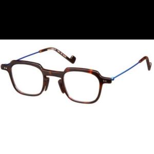 lunettes de la marque XIT carré ecaille plastique et branche bleues métal