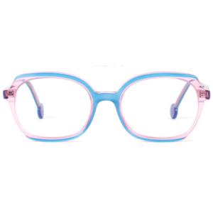 Lunettes L.A. Eyeworks carré nude crystal et bleu