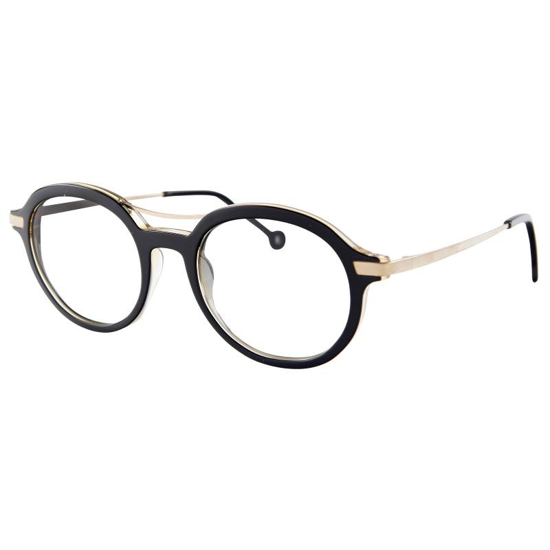 Lunettes de la créatrice Nathalie Blanc, pour femme, monture ovale oversize, acétate noir, branches et double pont or