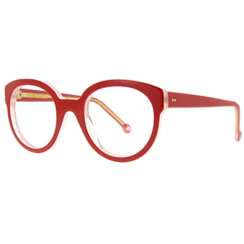 Lunettes de la créatrice Nathalie Blanc, monture oversize en acétate rouge, ronde