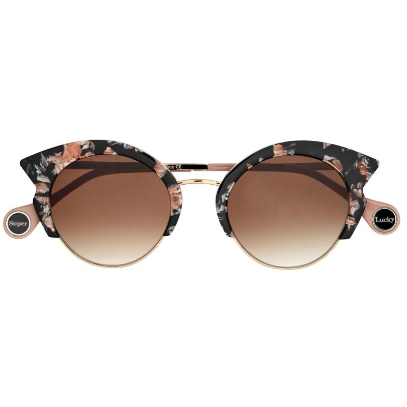 lunettes de soleil écaille rosée forme papillon de la marque woow
