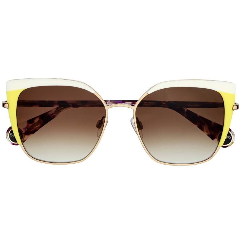 lunettes de soleil pour femme. Elles sont grandes carrées blanches et jaune. De la marque Woow