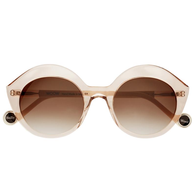 lunettes de soleil de couleur nude pour femme rappelant la forme d\'une bouche de la marque Woow