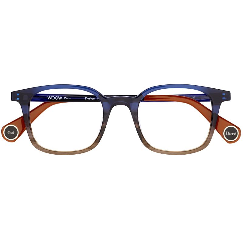 Lunettes carrées homme de la marque WOOW bleues dégradées marron