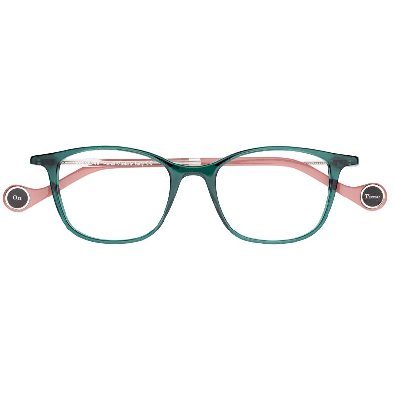 Lunettes carrées femme de la marque WOOW vert transulcide